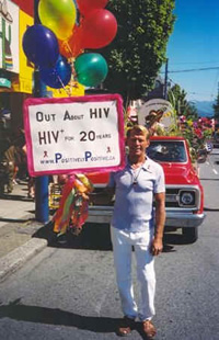Photo: Bradford McIntyre, HIV+ since 1984; is Out About being HIV+ in the Vancouver Pride Parade, 2004. Vancouver, BC. Canada. Photo Credit: Deni Daviau