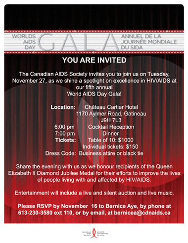 WORLD AIDS DAY GALA - November 27, 2012 - www.cdnaids.ca