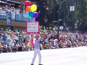 Photo: Bradford McIntyre is OUT ABOUT HIV in the Vancouver Pride Parade. Photo Credit: Deni Daviau